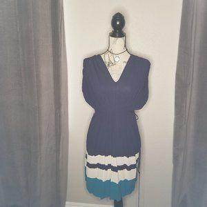 Kensie, navy blue, sheer dress with belt